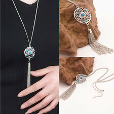 Womens Vinatge Chic Turquoise Long Tassel Chain Pendant Sweater Jewelry Necklace