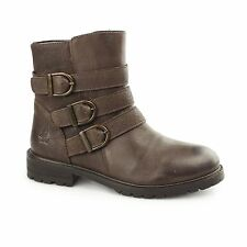 Hush Puppies JANE KLAIN Ladies Womens Leather Zip/Buckle Biker Ankle Boots Brown