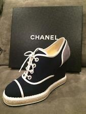 CHANEL 16C Canvas Suede Lace Up Wedge Heel Oxford Espadrille Shoes Navy $975
