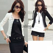 New Womens Outwear Suit OL Blazer Long Sleeve Rivet Lady Short Jacket Coat LEBB