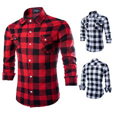 New Mens Long Sleeve Casual Check Print Smart Cotton Work Flannel Plaid Shirt UK