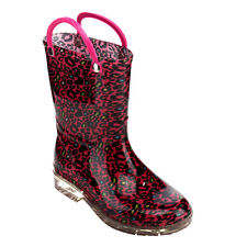 JELLY BEANS GE02 Girl's Pull-On Strap Clear Heel Mid-Calf Rainy Boots New In Box
