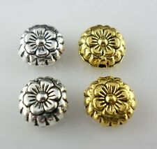 60/500pcs Tibetan Silver/Gold Flat Round Flower Spacer Beads 7.5x3mm