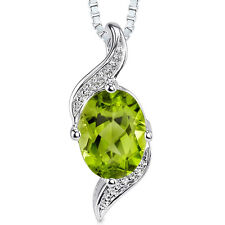 1.25 CT Oval Green Peridot Sterling Silver Pendant