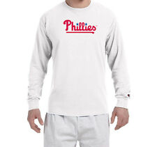 Philadelphia Phillies SCRIPT Champion LONG SLEEVE T-Shirt Tagless T Shirt Mens