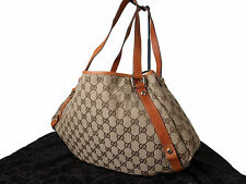 Authentic GUCCI GG Pattern Canvas Leather Browns Tote Bag GT0751