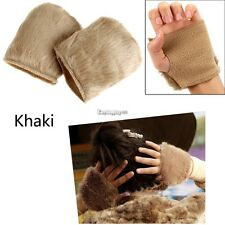 New Women Warm Faux Fur Fingerless Gloves Wrist Hand Warmer Mittens Mitt ES9P