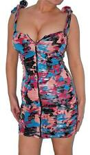 Sexy Shiny Artsy Cleavage Zipper Ruched Glam Rave Club Party Mini Dress New