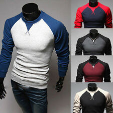 New Men's Fashion Casual Slim Fit Crew-neck Long Sleeve Tops Tee T-shirt UK