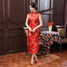 Chinese Women's Sleeveless Silk Evening Dress Long Cheongsam SZ 6 8 10 12 14 16