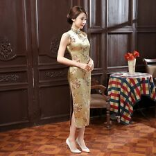 Yellow Women's Sleeveless Silk Evening Dress Long Cheongsam SZ 6 8 10 12 14 16