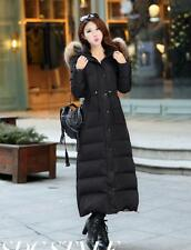 Women Winter 90% Duck Down Huge Real Fur Long Jacket Thick Warm Parka Coat Size@