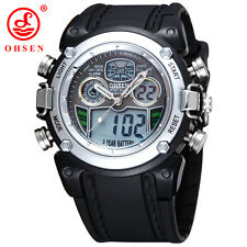 Waterproof Diver Military Wristwatch Mens Dual Time Sport Watch Alarm Date Week