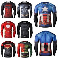 Mens Superhero Marvel Compression tight Long Sleeve T-Shirt Sport Bicycle Jersey