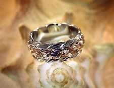 4/8MM HAWAIIAN RHODIUM & ROSE GOLD PLATED 925 SILVER PLUMERIA MAILE DOUBLE RING