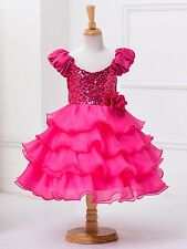 New Girl Kids Baby Flower Bridesmaid Party Formal Sequin Ball Gown Dress 2-10Y