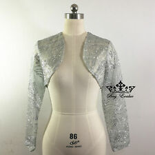 Lace Bolero Jacket Evening Coat Long Sleeves silver sequins match with dress