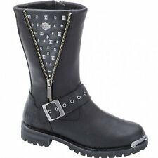 Harley Davidson TANYA Ladies Womens Leather Studded Motorcycle Biker Boots Black