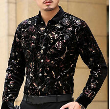 Luxury New Chemise Homme highquality silk Black Golden Print Mens Floral shirts