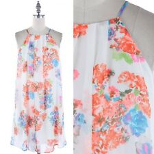 Floral Print Spaghetti STrap Back Keyhole Tunic Dress Casual Polyester S M L