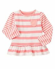 NWT Gymboree Girls Polar Pink Striped Peplum Top Size 12-18 M & 2T