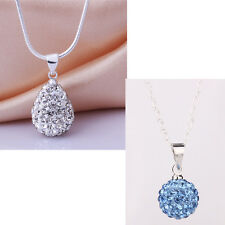 925 Sterling Silver Shiny White/Blue Crystal Disco Ball Teardrop Pendant Jewelry