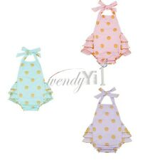 Newborn Baby Girl Halter Romper Gold Polka Dots Ruffle Jumpsuit Summer Outfit