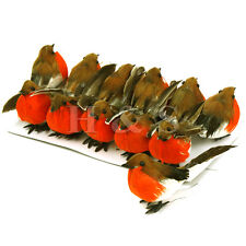 12 x VERY CUTE Artificial Feather Robin Bird Christmas Tree Decoration Craft