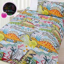 Glow In the Dark Roar Dinosaur Quilt Doona Duvet Cover Set - SINGLE DOUBLE