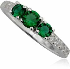 Simulated Emerald Ring Green Triple Round Stone 925 Sterling Silver