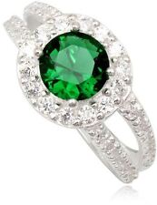 Simulated Emerald Ring Green Round Stone 925 Sterling Silver