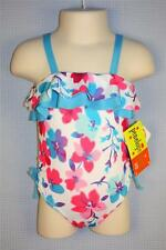 2T PENELOPE MACK TODDLER GIRLS AQUA PINK RUFFLE FLORAL ONE PIECE SWIMSUIT NWT