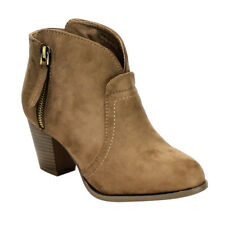 BELLA MARIE AD58 Women's Side Zipper Block Heel Ankle Booties Run Small Size
