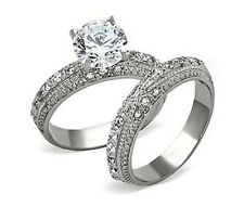 Womens Wedding Rings Band Set Stainless Steel 3.25 ct Engagement Ring Size 5-10