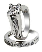 Womens cz Wedding Rings Stainless Steel Engagement Ring Bridal Set Size 5 -11