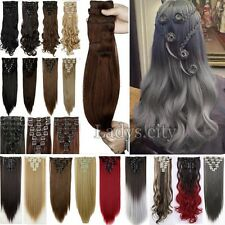 100% Real Thick Full Head Clip in Hair Extensions 18 clips Real Natural Long T2i