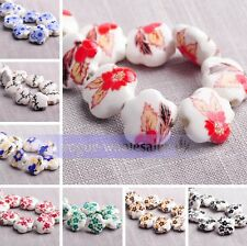 10pcs 15mm Flowers Rondelle Big Hole Ceramic Porcelain Loose Spacer Charms Beads