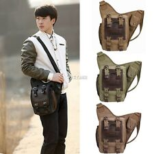 Men's Vintage Canvas Leather Messenger Shoulder Bag Military Travel Satchel Bag