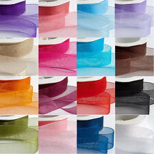 50 Yards Satin Woven Edge Organza Ribbon 10mm 15mm 20mm 25mm 40mm Various Colour