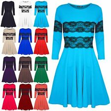 Womens Ladies Long Sleeves Lace Flared Franki Mini Skater Dress Top Plus Size