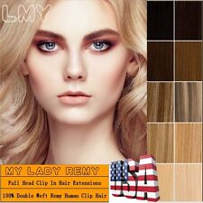 """Elegant Heavy Clip In Remy Human Hair Extension Full Head Double Weft 22"""" HQ312"""