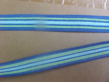 Elastic 5/8  Blue Green White Turquoise Coral Stripe Waistband Sport 5 yds. New