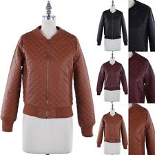 Faux Leather Quilted Long Sleeve Zip Up Jacket with Pockets Casual Cute XS S M