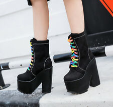 NEW Womens Shoes High Heels Ankle Boots Rainbow Lace Up Rock Punk Boots Platform