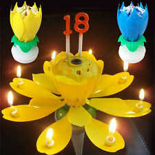 Birthday Magical Spinning Blossom Lotus Musical Rotating Candle Flower Light New