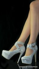 WOMENS SEXY SILVER SHIMMER SILVER STUDS CROSS ANKLE STRAPS HIGH HEEL PARTY SHOES