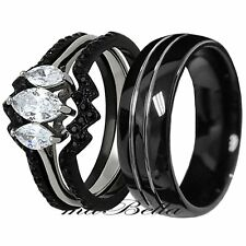 His Tungsten Hers Black Stainless Steel 4Pcs Wedding Newly Ring Band Set
