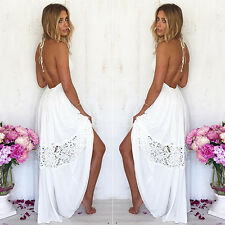 Women's Summer Sexy Halter V Neck Backless Beach Party Long Maxi Dress Novelty