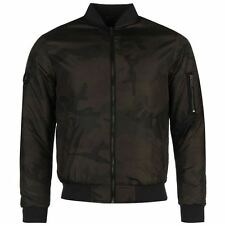 Firetrap Mens Camouflage Bomber Jacket Pockets Warm Ribbed Cuffs Full Zip Top