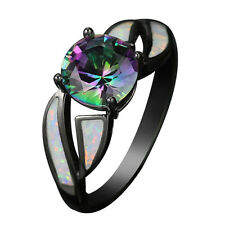 Mystic Rainbow Sapphire & Fire Opal Wedding Ring 10KT Black Gold Filled Size4-12